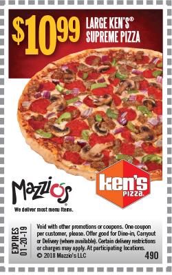 $10.99 - Large Ken's Supreme Pizza. Offer Code 490. Expires 01-20-19.