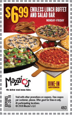 $6.99 - Monday-Friday Endless Lunch Buffet & Salad Bar. Offer Code 493. Expires 01-20-19.