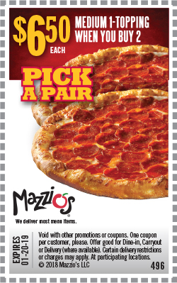 $6.50 Each - Medium 1-Topping When You Buy 2. Offer Code 496. Expires 01-20-19.