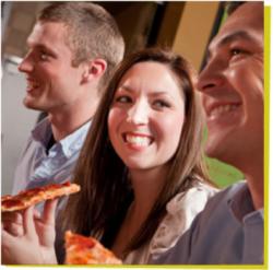 People enjoying Mazzio's pizza