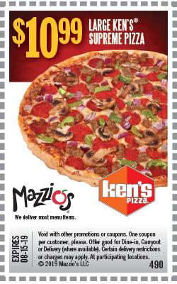 $10.99 Large Ken's Supreme Pizza. Offer Code 490. Offer Expires 06-30-19.