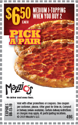 Pick A Pair. Medium 1-topping when you buy 2. $6.50 each. Offer Code 496. Offer expires 6-30-19