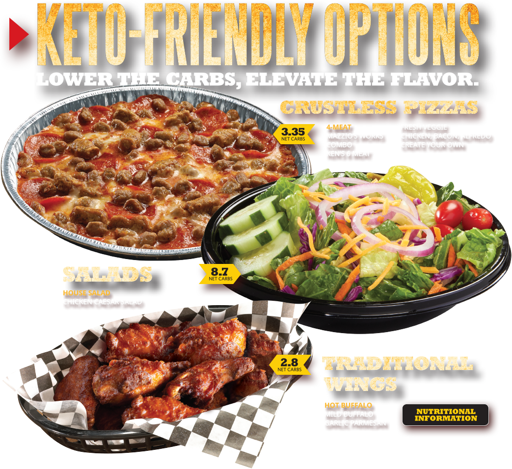Keto-Friendly Options. Lower the carbs, elevate the flavor. Crustless Pizzas. Salads. Traditional wings. Click here for nutritional information.