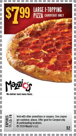 Recommend Coupons Based on Mazzios Promotions